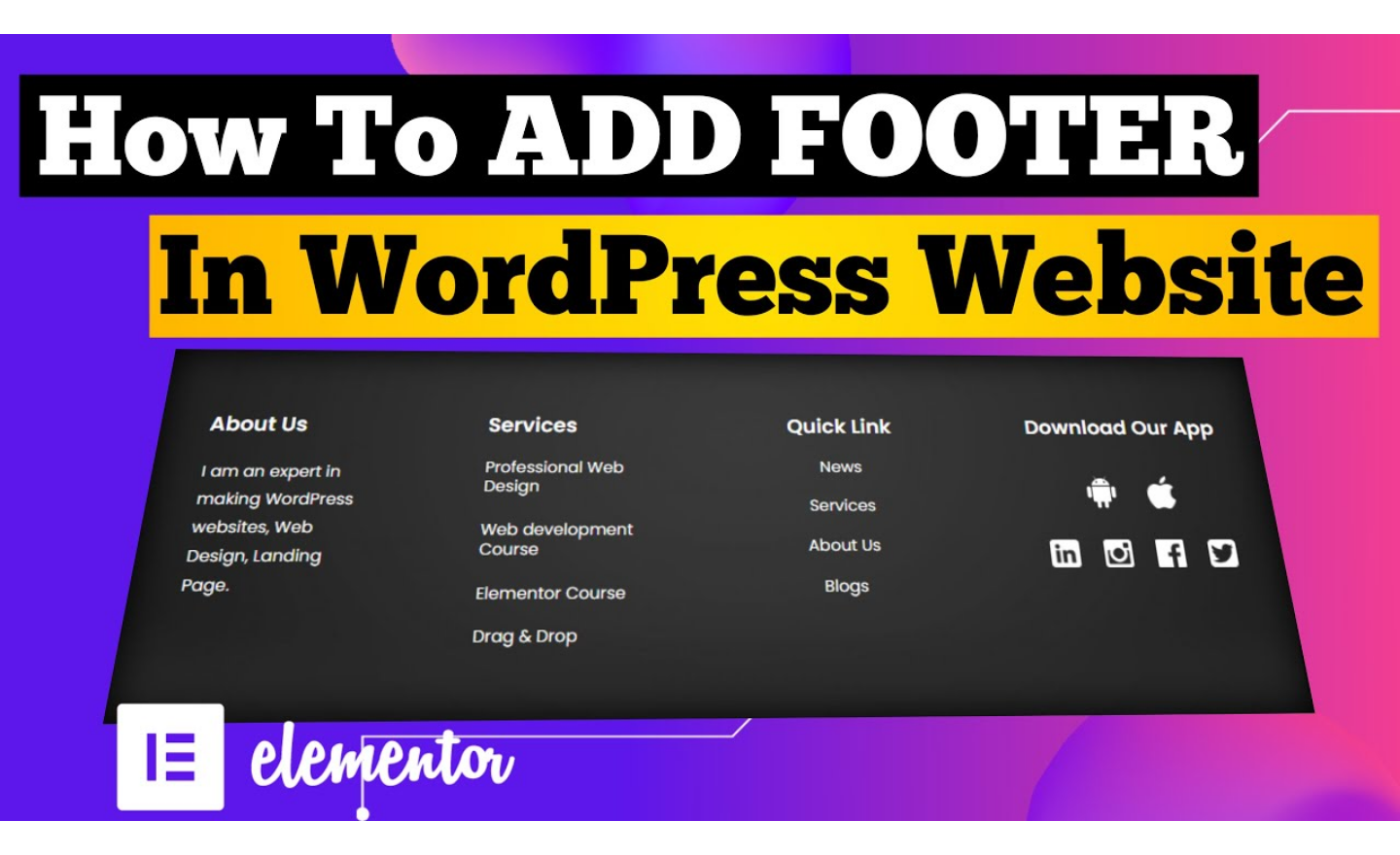 create footer in wordpress with elementor